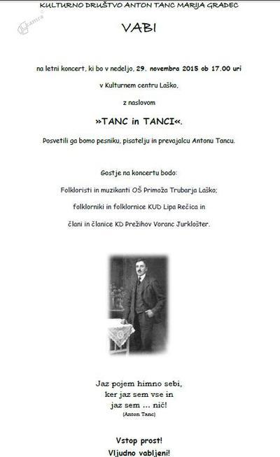 Vabilo na prireditev Kulturnega društva Anton Tanc Marija Gradec