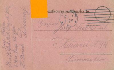 Dopisnica, 16. 1. 1917