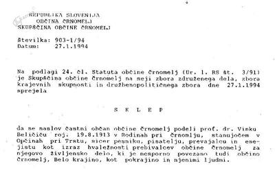 Naziv: častni občan občine Črnomelj