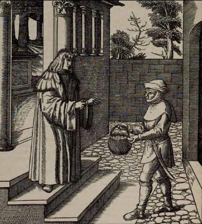 Kmet izroča cesarju Maksimilijanu košaro jajc