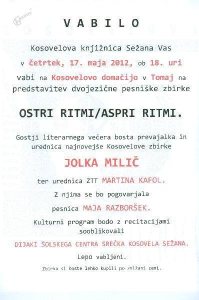 Vabilo, Ostri ritmi/Aspri ritmi, Tomaj, 2012