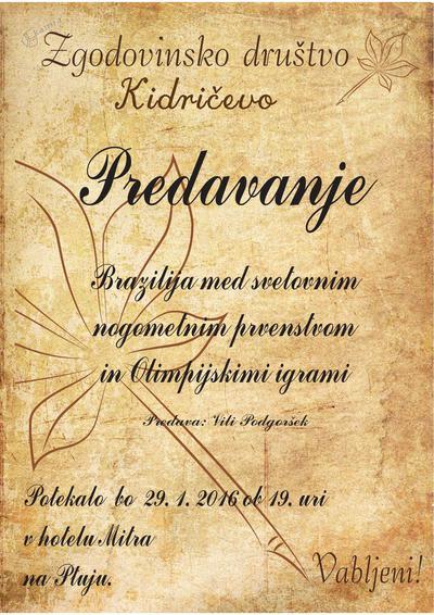 Predavanje Vilija Podgorška - vabilo
