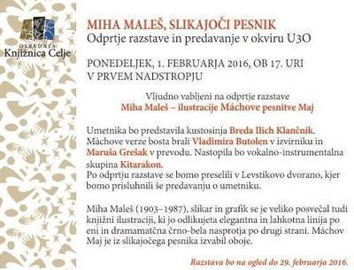 Vabilo na odprtje razstave  Miha Maleš – ilustracije Máchove pe