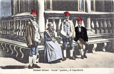 Istrske noše - Stari paolani iz Kopra, 1889