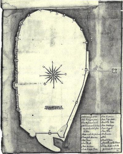 Capodistria, cinta muraria nel 1620