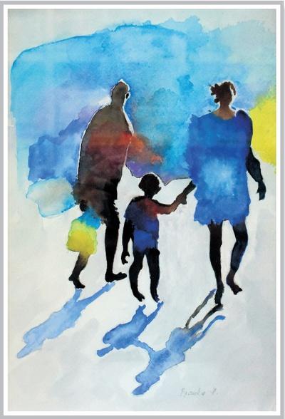 Družina na sprehodu