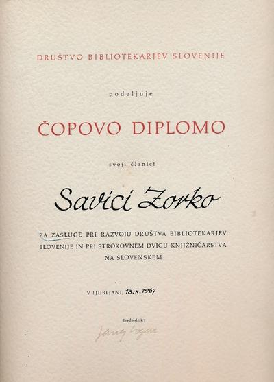 Čopova diploma Savici Zorko