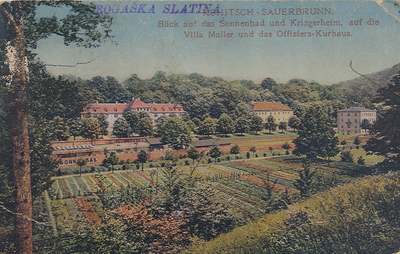 Razglednica: Rogaška Slatina. Natisnjena 1917-18, poslana leta 1920.