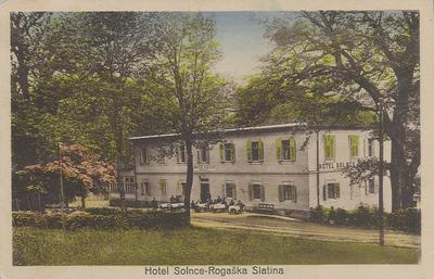Razglednica: Hotel Solnce – Rogaška Slatina. Poslana leta 1928.