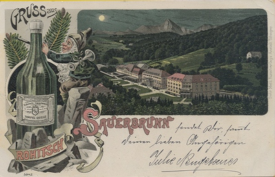 Razglednica: Gruss aus Rohitsch Sauerbrunn. Natisnjena ok. 1899.