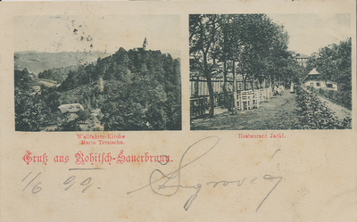 Razglednica: Gruss aus Rohitsch-Sauerbrunn. Wallfahrts-Kirche Maria Tersische. Restaurant Jackl. Poslana leta 1899.