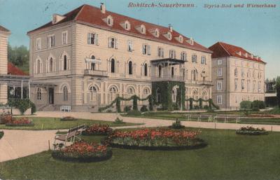 Razglednica: Rohitsch - Sauerbrunn. Styria-Bad und Wienerhaus. Poslana leta 1912.