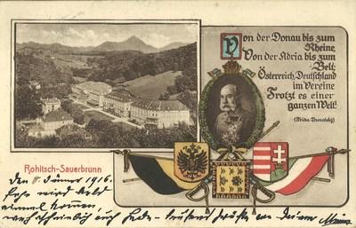 Razglednica: Rohitsch - Sauerbrunn. Natisnjena 1915-16.