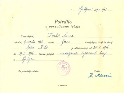 Potrdilo o opravljenem knjižničarskem tečaju v letu 1954