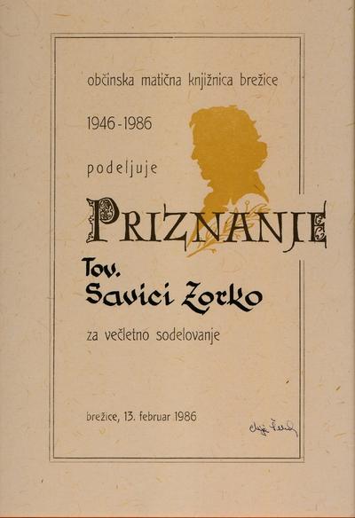 Priznanje Savici Zorko za večletno sodelovanje z brežiško knjižnico