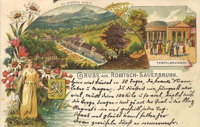 Razglednica: Gruss aus Rohitsch-Sauerbrunn. Poslana leta 1896.