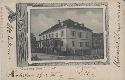 Razglednica: Gruss aus Sauerbrunn - R. Villa Stoinschegg. Poslana leta 1902.