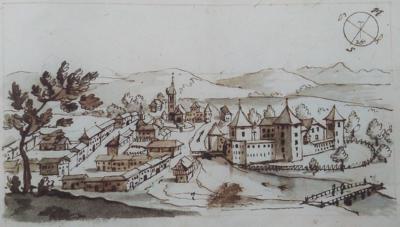 Skica ribniškega trga z gradom
