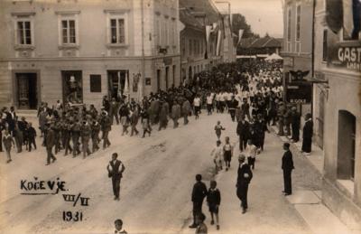 Ribniška Sokolovska godba na zletu v Kočevju
