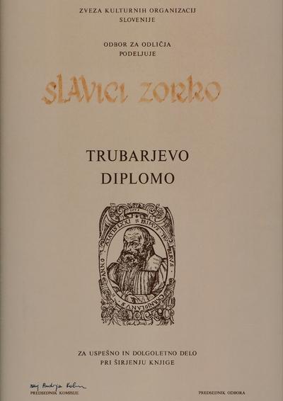 Trubarjeva diploma Savici Zorko
