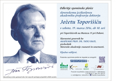 Vabilo na odkritje spominske plošče akademiku Toporišiču