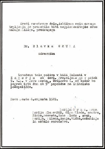 Osmrtnica dr. Slavka Gruma