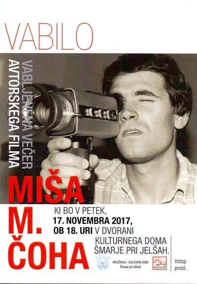 Večer avtorskega filma Miša M. Čoha - vabilo