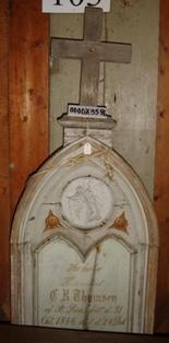 Gravsten med inskription, marmor, Husmand ACR Thomsen