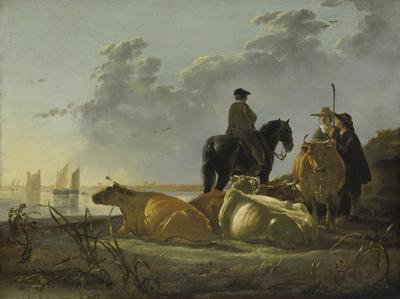 Boeren en vee bij de Merwede