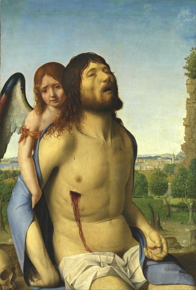 Cristo muerto, sostenido por un ángel