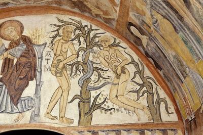El Pecado Original. Pintura mural de la ermita de la Vera Cruz de Maderuelo.