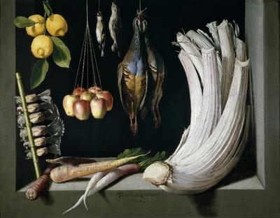 Bodegón de caza, hortalizas y frutas
