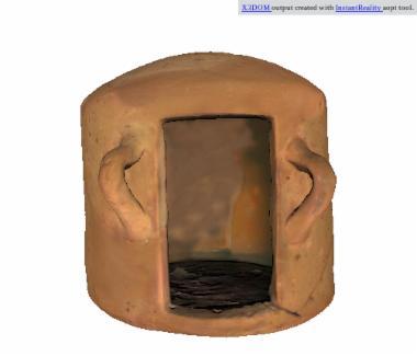 Πήλινο, κυλινδρικό αρχιτεκτονικό ομοίωμα τύπου «καλύβας (hut model)» [Π 3717]