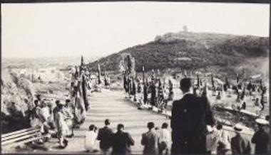 King Paul visits the Acropolis. Entryway with flags of honor.
