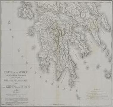 CARTE DE LA MOREE ANCIENNEMENT PELOPONNESE. Partie principale du THEATRE DE LA GUERRE entre LES GRECS ET LES TURCS en 1825.