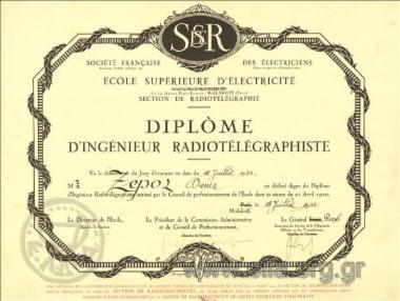 Société  Française des Électriciens/ École Supérieure de Électricité/ Section de Radiotélégraphie