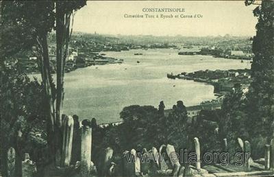 Constantinople - Cimetière Turc à Eyoub et Corne d' Or.