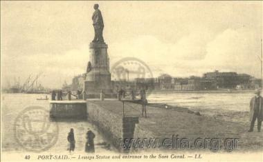 Port-Said. - Lesseps Statue and entrance to the Suez Canal.