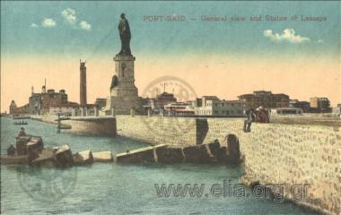 Port-Said - General view and Statue of Lesseps.