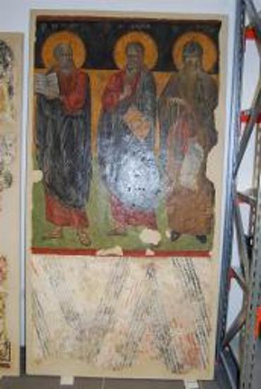 Τοιχογραφία του αγίου Ιωάννη Θεολόγου, αγίου Ανδρέα, αγίου Λουκά