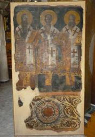 Τοιχογραφία με τους Τρεις Ιεράρχες