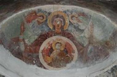 Τοιχογραφία με απεικόνιση της Θεοτόκου στον τύπο της Βλαχερνίτισσας
