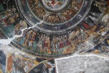 Τοιχογραφία με την παράσταση των Αίνων (λεπτομέρεια)
