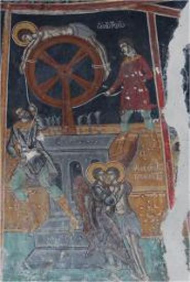 Τοιχογραφία με παράσταση μαρτυρίου του Αγίου Γεωργίου.