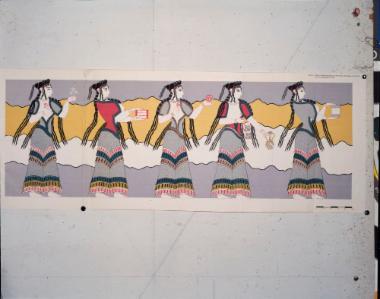 Αναπαράσταση τοιχογραφίας με την πομπή των γυναικών