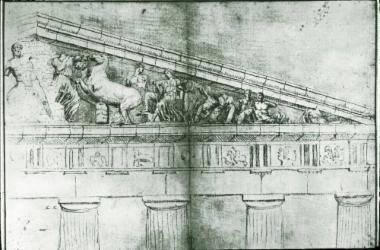Σχέδιο του δυτικού αετώματος του Παρθενώνα από τον J. Carrey (1674)
