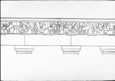 Ακρόπολη. Σχεδιαστική αναπαράσταση της δυτικής ζωφόρου του Παρθενώνα