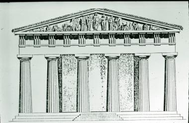 Σχεδιαστική αναπαράσταση της ανατολικής πλευράς του ναού του Δία