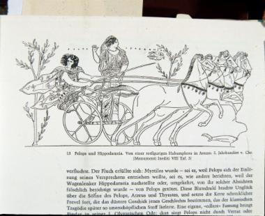 Σχεδιαστική αναπαράσταση Πέλοπος και Ιπποδάμειας από αμφορέα από το Arezzo