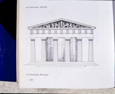 Σχεδιαστική αναπαράσταση της δυτικής πλευράς του ναού του Διός
